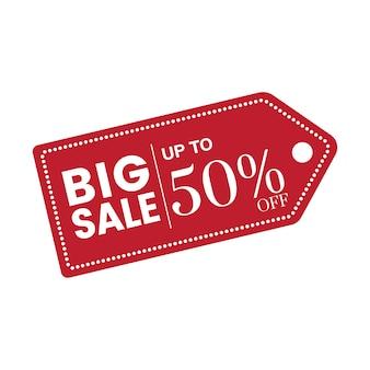 50% de réduction sur le vecteur insigne de vente