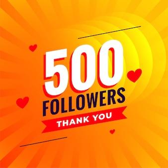 500 abonnés fond de réseau de médias sociaux