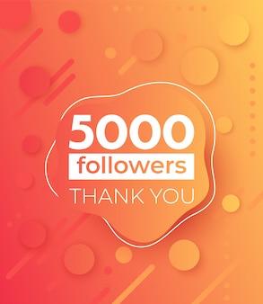 5000 abonnés, bannière pour les médias sociaux