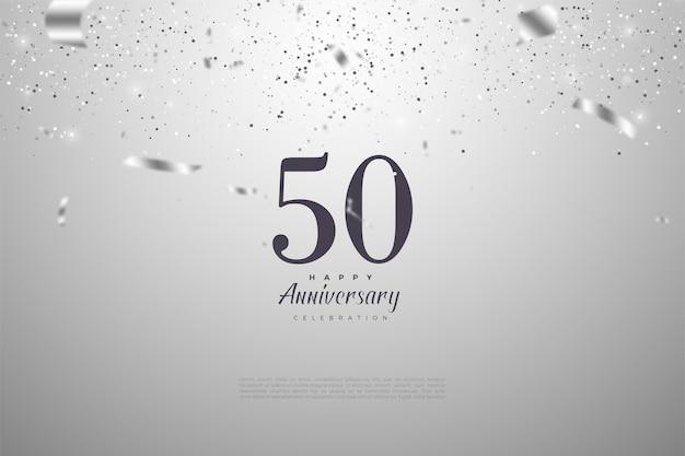 50e anniversaire avec des chiffres et une goutte de ruban d'argent