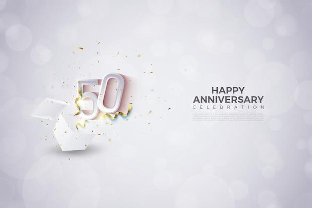 50e anniversaire avec illustration de nombres explosant de l'intérieur de la boîte de choc