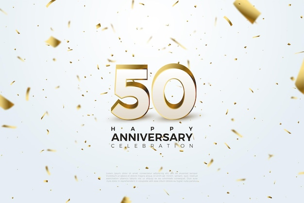 50e anniversaire avec des nombres dispersés et des illustrations en feuille d'or