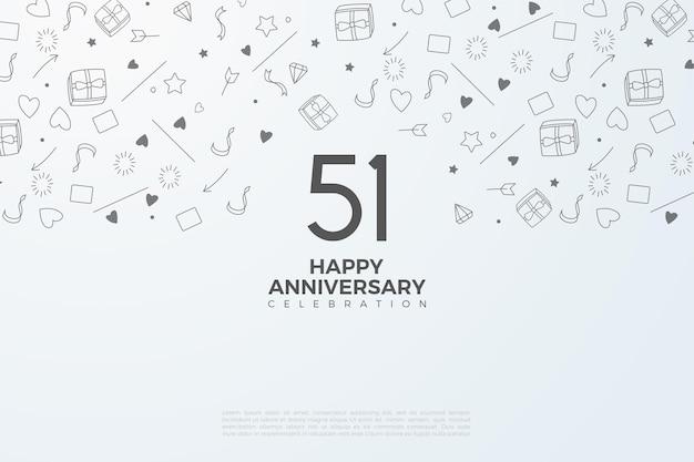 51e Anniversaire Avec Un Design Numérique Plat Vecteur Premium