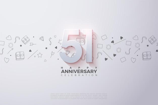 51e anniversaire avec illustration de la figure 3d