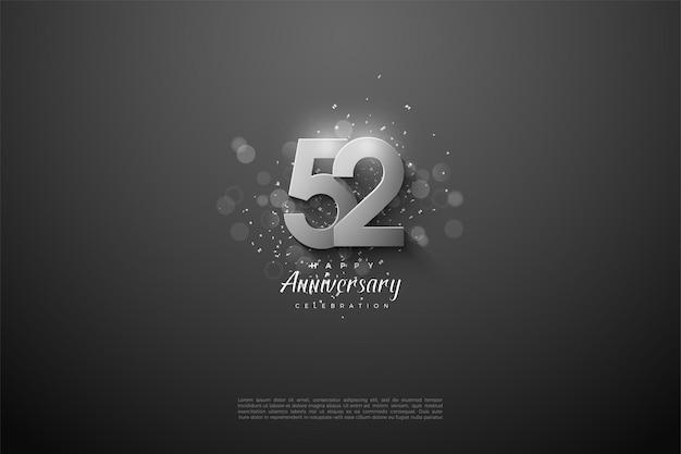 52e anniversaire avec des chiffres argentés sur fond noir