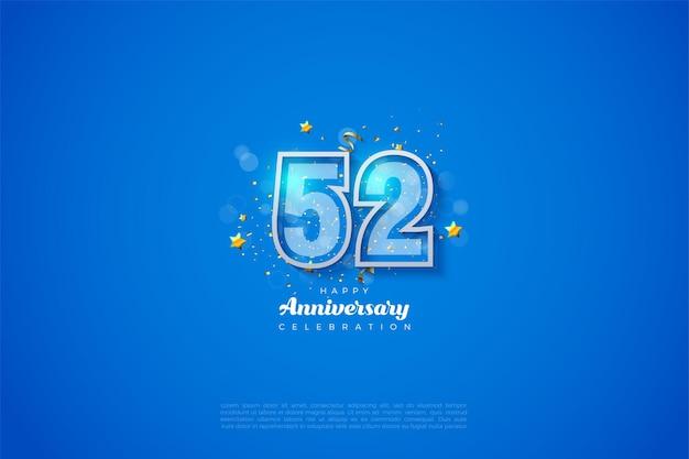 52e anniversaire avec des chiffres à double bordure sur fond bleu