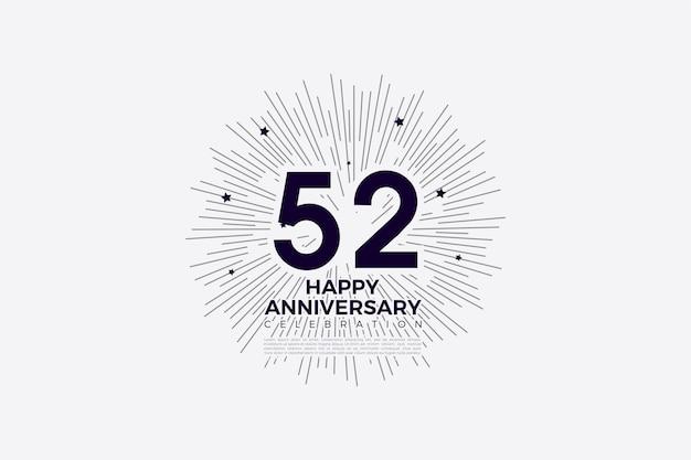 52e anniversaire avec des chiffres en noir sur blanc
