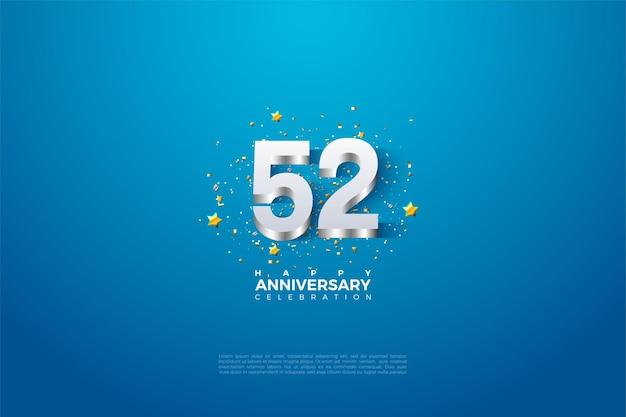 52e anniversaire avec des chiffres plaqués argent