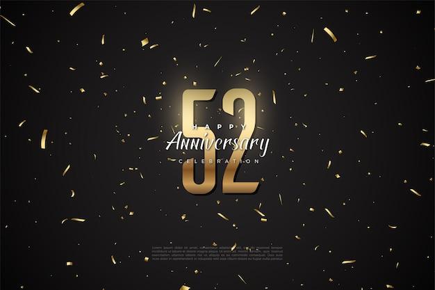 52e anniversaire avec des chiffres et des points d'or sur fond noir