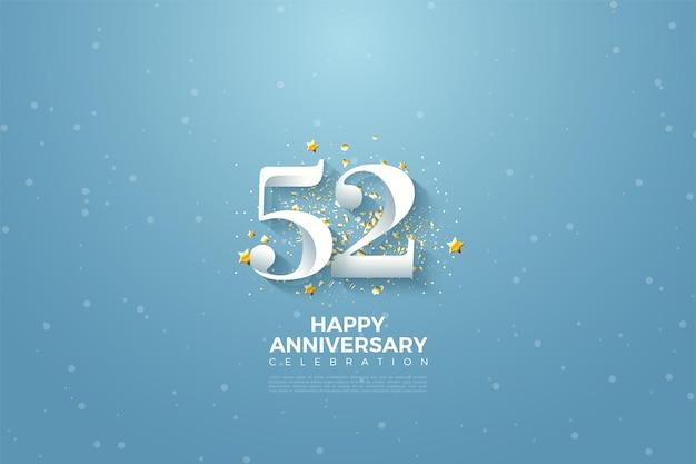 52e anniversaire avec illustration de fond de ciel bleu