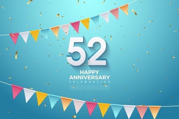 52e anniversaire avec des nombres et des drapeaux 3d