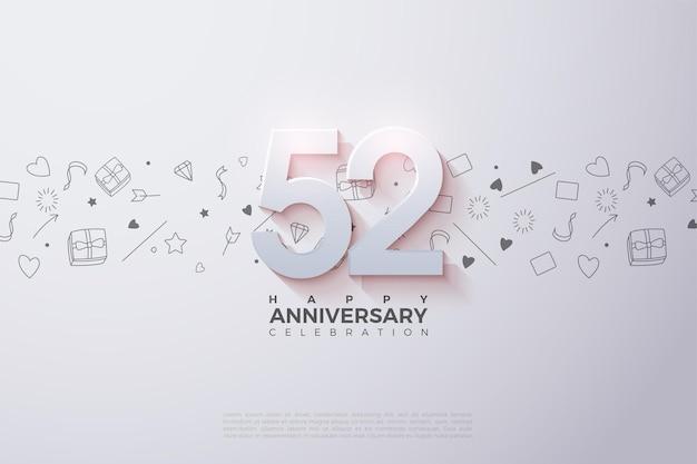 52e anniversaire avec des numéros 3d décolorés