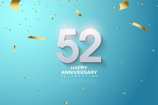 52e anniversaire avec des numéros 3d ombrés