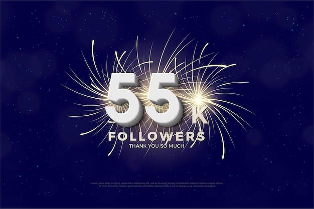55 000 abonnés avec numéro et feux d'artifice