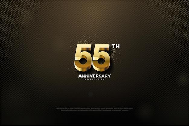 55e anniversaire avec de luxueux chiffres en or