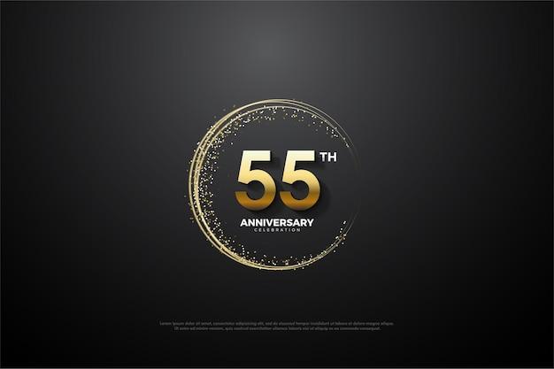 55e anniversaire avec nombres d'or et sable