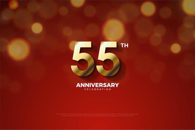 55e anniversaire avec des numéros d'or
