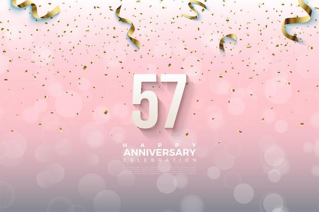 57 anniversaire avec un design simple numéro 3d