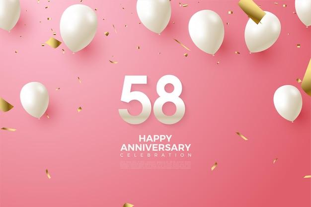 58e anniversaire avec des chiffres et des ballons
