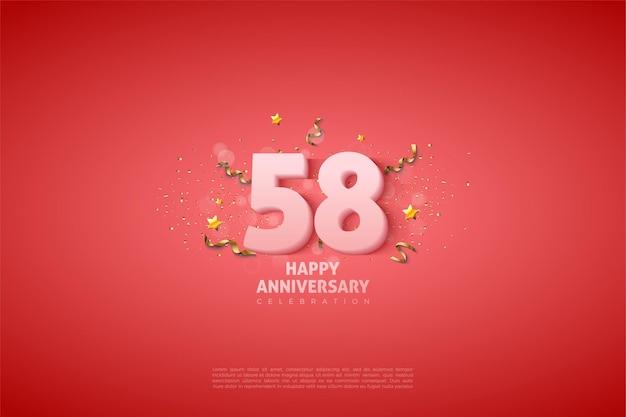 58e anniversaire avec des chiffres blancs doux