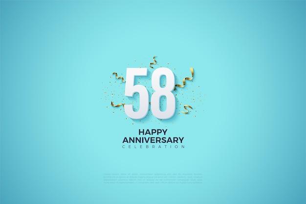 58e anniversaire avec des chiffres blancs sur fond bleu clair