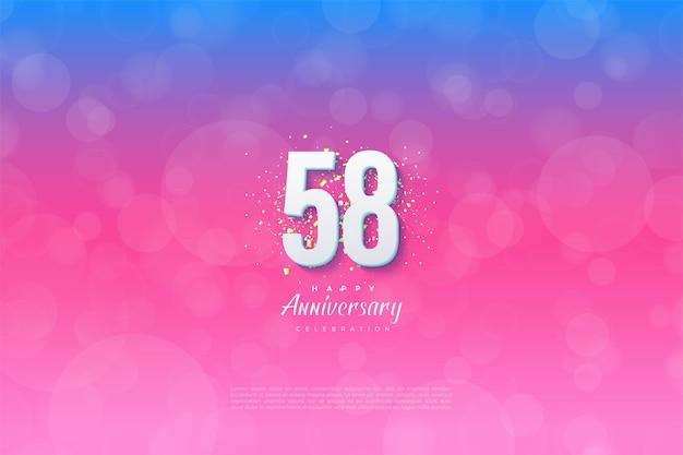 58e anniversaire avec illustration de couleur dégradée