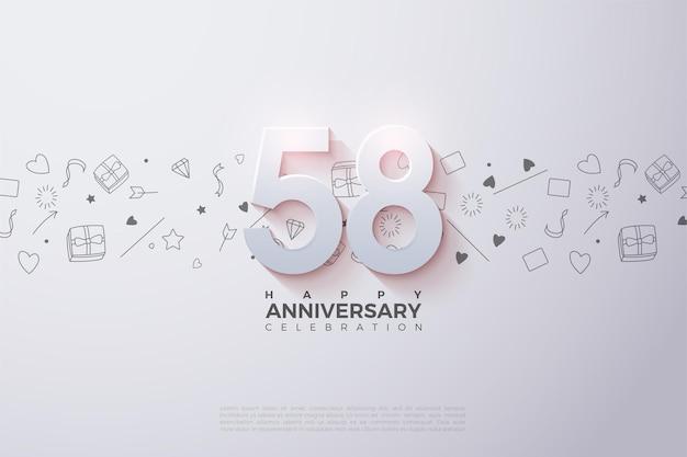 58e anniversaire avec illustration de la figure 3d
