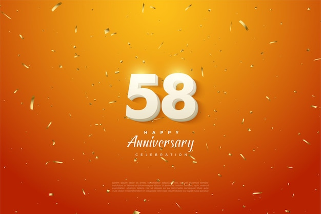 Le 58e anniversaire avec une illustration de figures 3d apparaissant