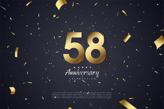 58e anniversaire avec nombres d'or épars et papier
