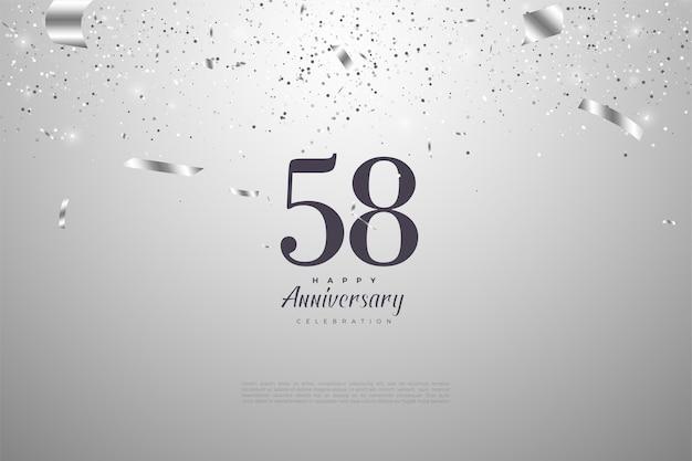 58e anniversaire avec numéro de design plat blanc sur noir