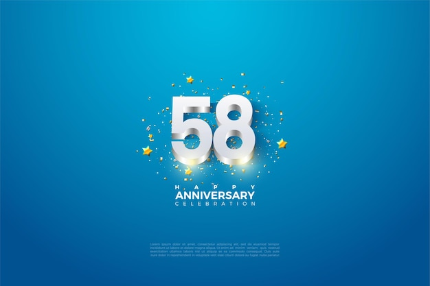 58e anniversaire avec numéros plaqués argent