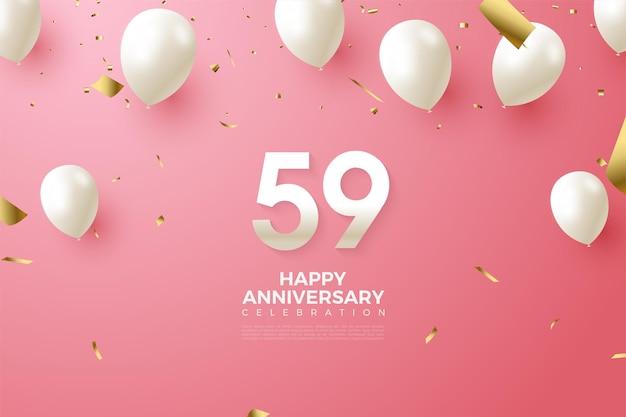 59e anniversaire avec des chiffres et des ballons