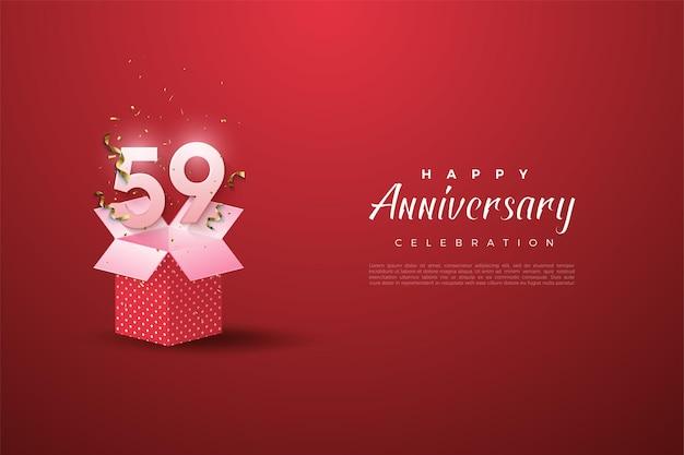 59e anniversaire avec des chiffres sur une boîte ouverte