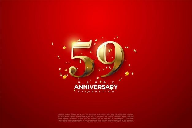 59e anniversaire avec chiffres dorés sur fond rouge vif