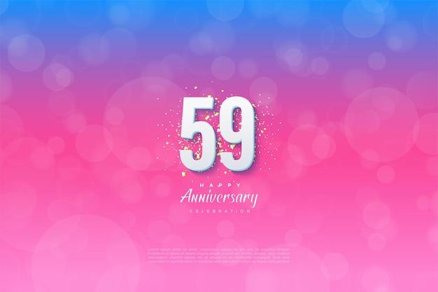 59e anniversaire avec des chiffres sur fond gradué