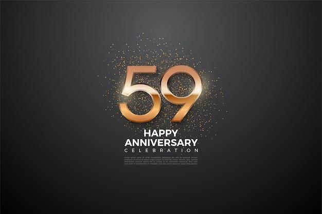59e anniversaire avec des chiffres lumineux
