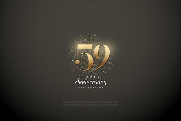 59e anniversaire avec des chiffres en or brillant