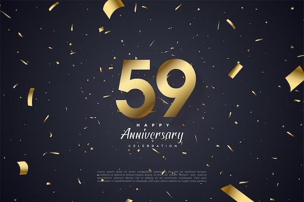 59e anniversaire avec chiffres et papier dorés plats