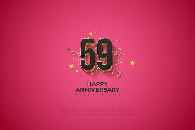 59e anniversaire avec chiffres plaqués or massif