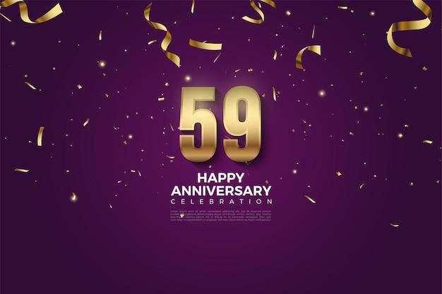 59e anniversaire avec des chiffres et des rubans d'or