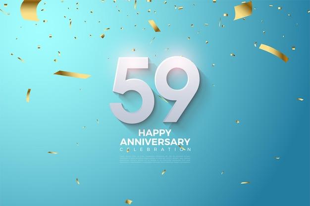 59e Anniversaire Avec Des Nombres 3d Vecteur Premium