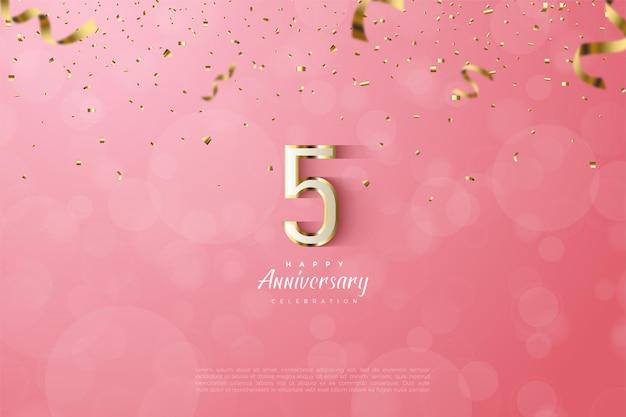 5ème anniversaire avec bordures numériques luxueuses en or.