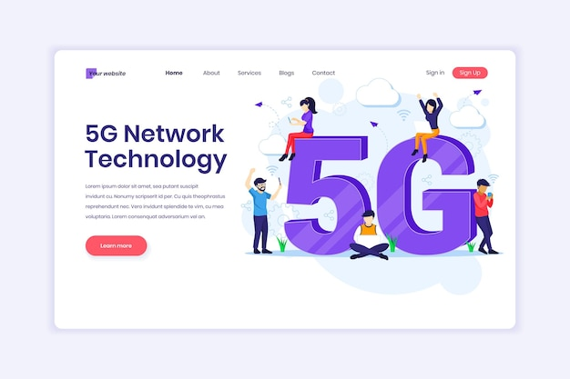 5ème technologie de réseau personnes avec symbole 5g géant utilisant une connexion sans fil à haut débit illustration 5g