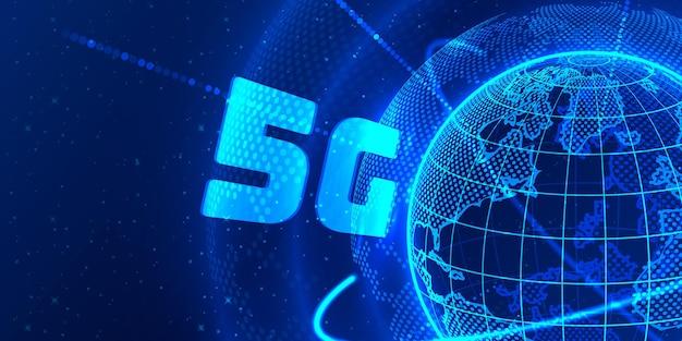 5g concept global planète terre point fond noir