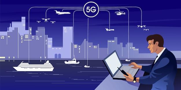 La 5g est la cinquième génération de la technologie sans fil numérique cellulaire en tant qu'infrastructure de communication civile.