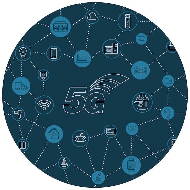 5g iot internet des objets smart home design de qualité vectorielle avec icônes