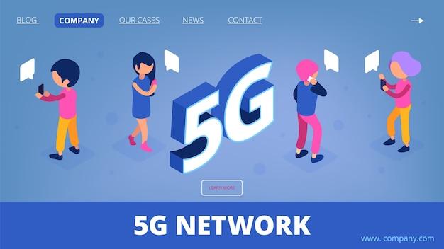 5g isométrique. page de destination de réseau sans fil de vecteur. personnages de personnes 3d avec smartphones.