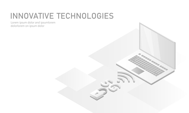 5g nouvelle connexion internet wifi sans fil. ordinateur portable isométrique