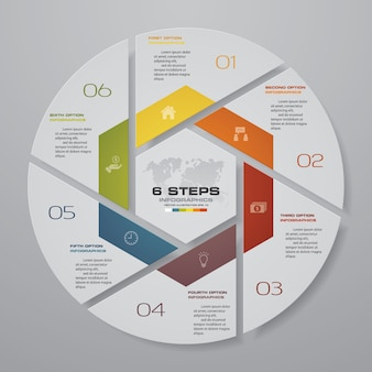 6 étapes cycle éléments infographiques de graphique.