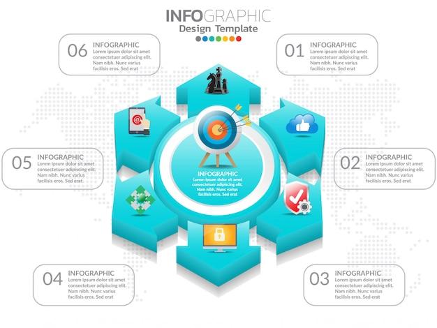 6 étapes du modèle de conception infographie chronologie avec options, diagramme de processus.